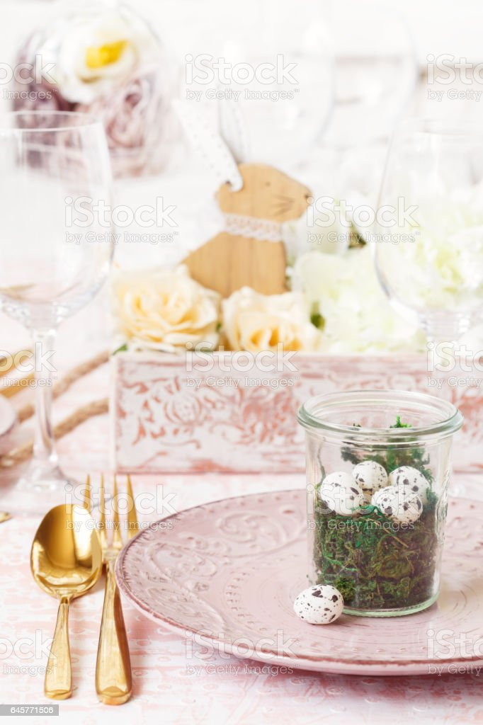 Easter table setting. stock photo