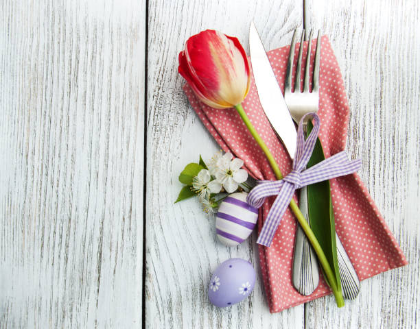 easter table setting - easter brunch stock photos and pictures