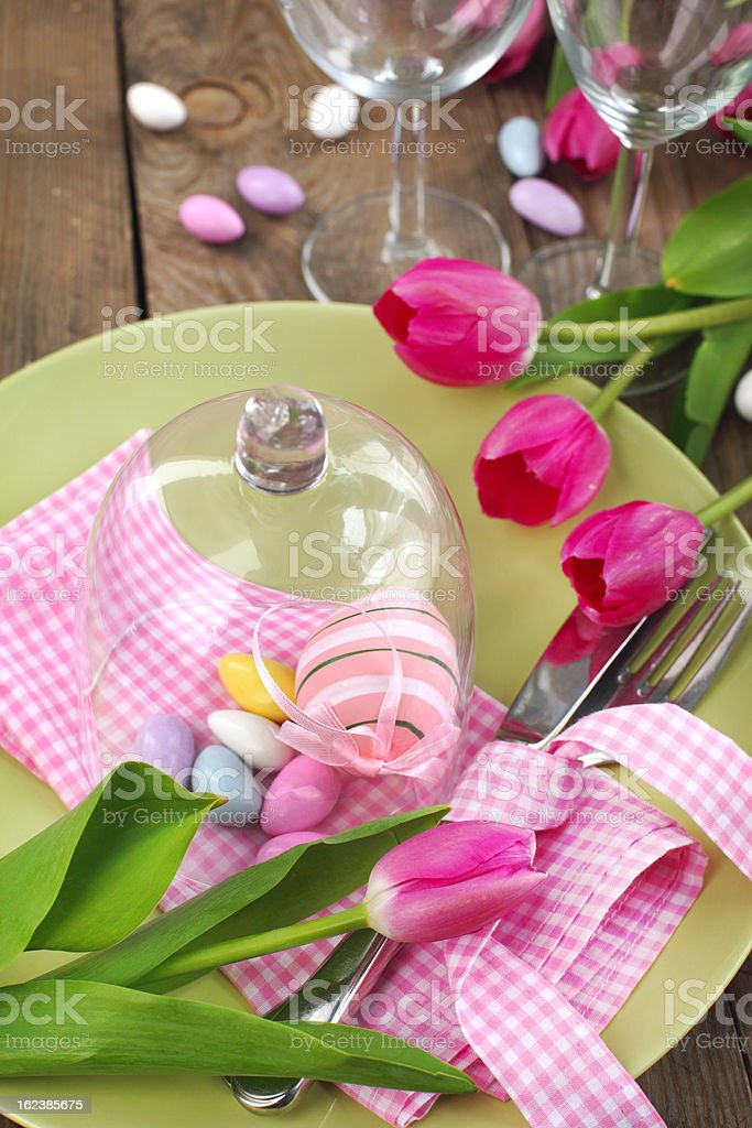 Easter table setting with tulips royalty-free stock photo