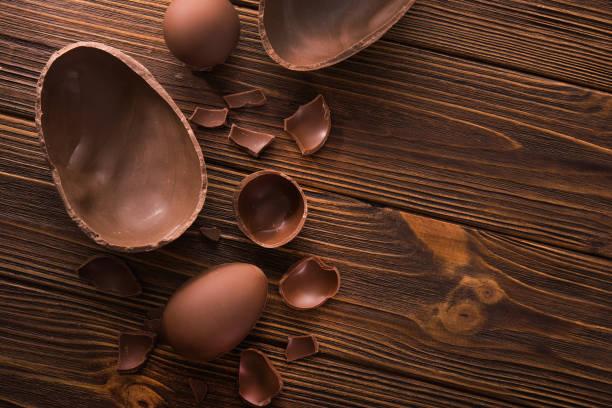easter tasty chocolate egg stock photo