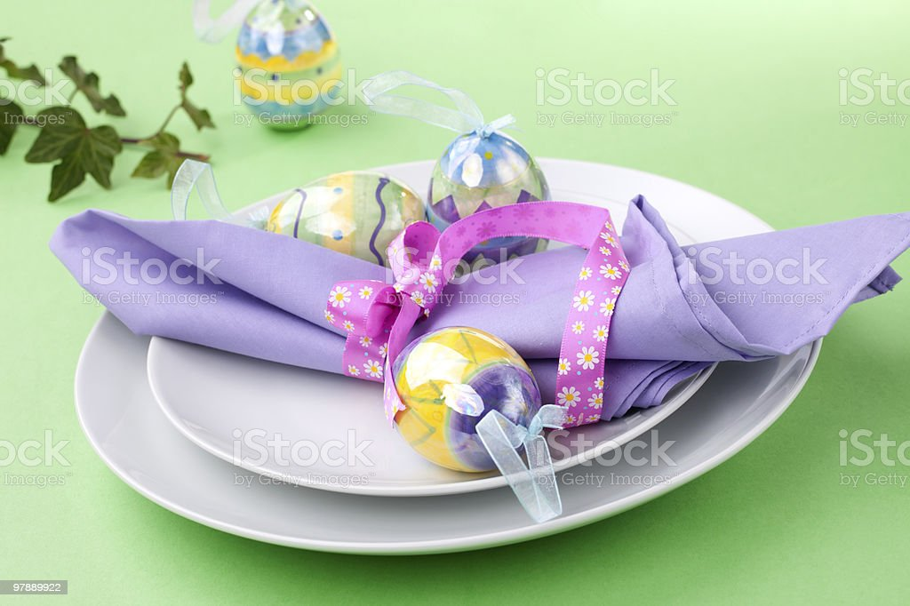 Easter theme table setting royalty-free stock photo
