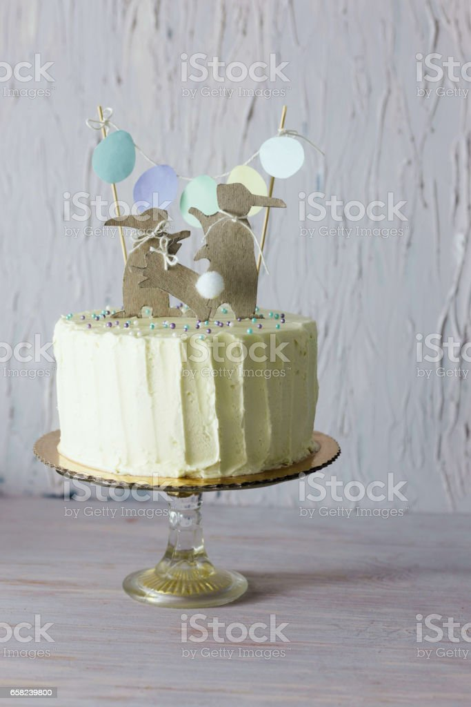 Fine Easter Themed Wedding Or Birthday Cake With Paper Rabbit Personalised Birthday Cards Paralily Jamesorg