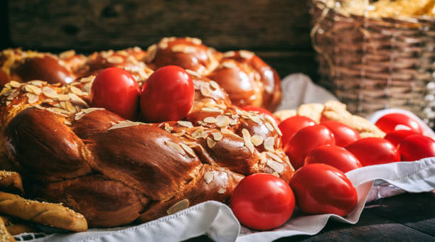 easter traditional bread - greek easter stock photos and pictures