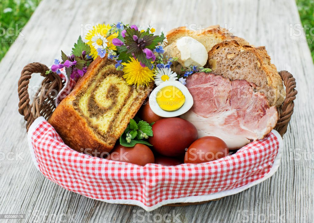 Easter traditional food with ham, eggs and bread stock photo