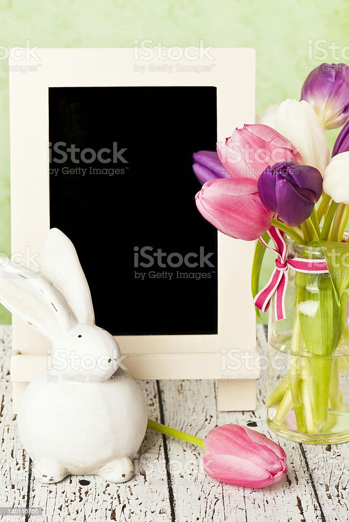 Easter Tulips and Rabbit with Chalkboard stock photo