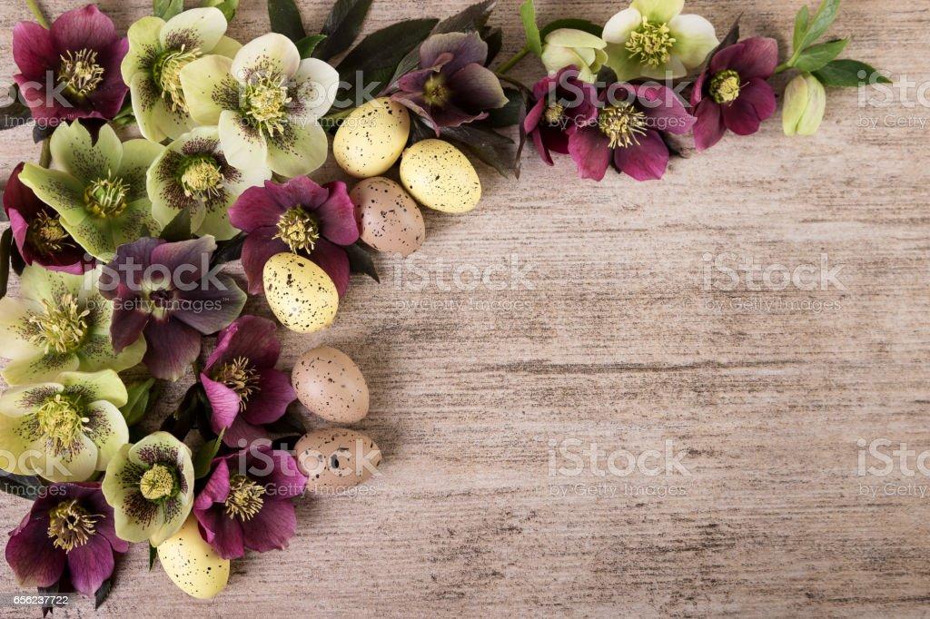 Easter Vintage Background With Spring Flowers Pastel Color Copy