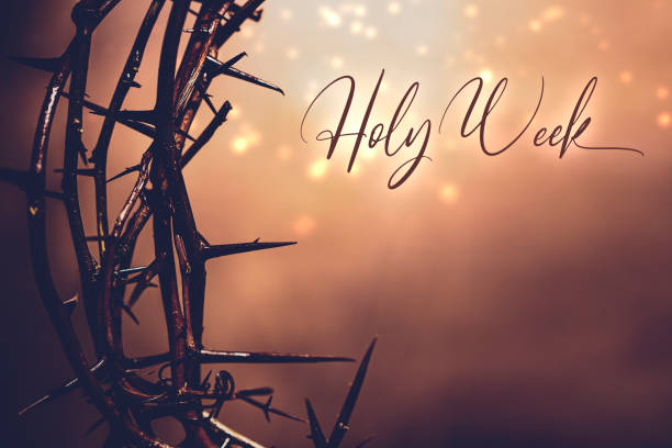 Easter Week Crown of Thorns Holy Week crown of thorns background. image stock pictures, royalty-free photos & images