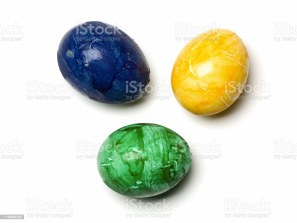 eastereggs yellow, blue, green isolated w/ clipping path royalty-free stock photo