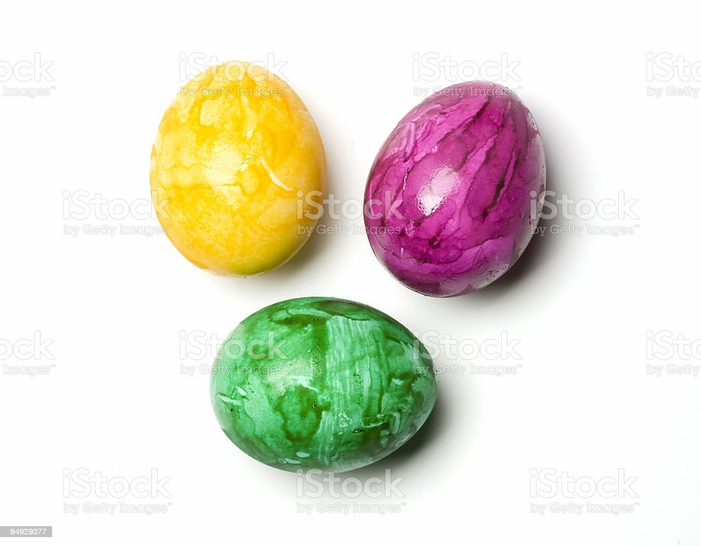 eastereggs yellow, green, pink isolated with clipping path stock photo