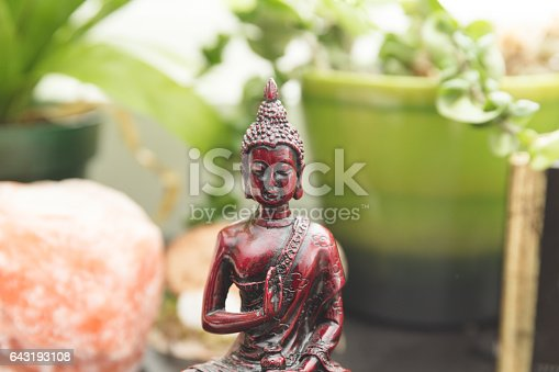 Religious figure or sculpture, plants, crystal salt rock, and other decorations on a shelf or bookcase.Religious figure or sculpture, plants, crystal salt rock, and other decorations on a shelf or bookcase.