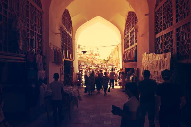 Eastern bazaar in Bukhara, Uzbekistan. BUKHARA, UZBEKISTAN - MAY 25, 2018: Silk and Spices Festival 2018. Eastern bazaar in Bukhara Uzbekistan muziekfestival stock pictures, royalty-free photos & images