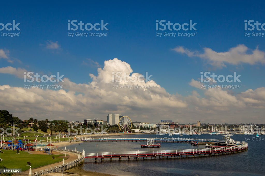 Eastern Beach, the local swimming pool in Geelong, Australia stock photo