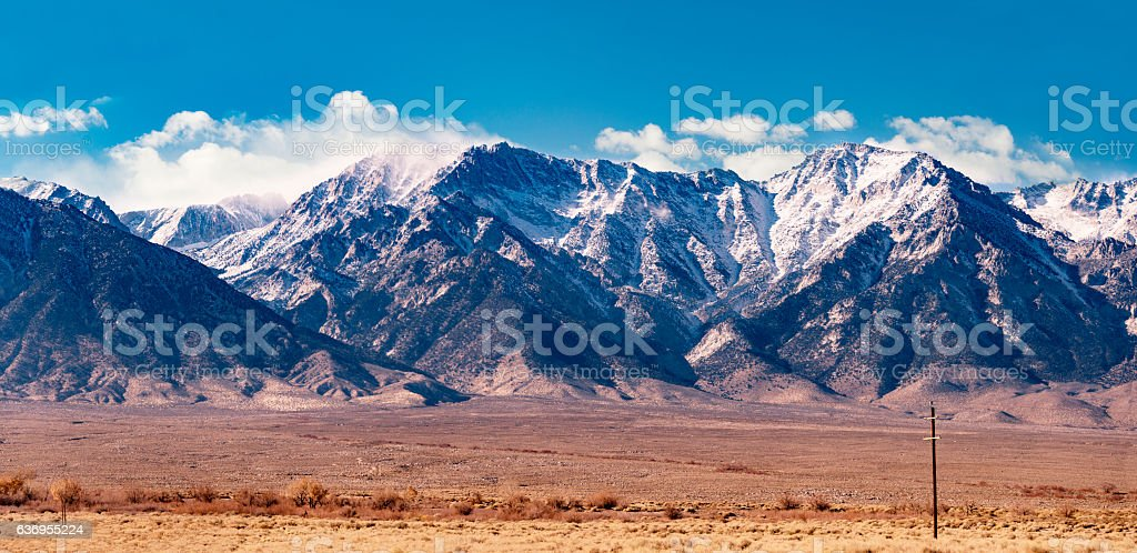 Eastern California Sierra Snow Capped Mountains stock photo