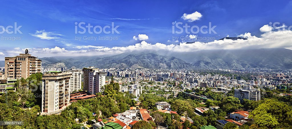 Eastern Caracas city aerial view at early morning stock photo