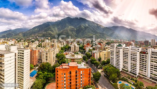 Eastern Caracas panoramic city view at Chacao Municipality.  Image taken at mid afternoon with Avila mountain in the background.Cerro El Avila en el Municipio Chacao.