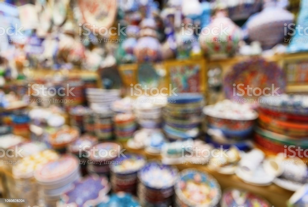 Eastern ceramics in the Grand Bazaar as creative abstract blur background, Istanbul, Turkey stock photo