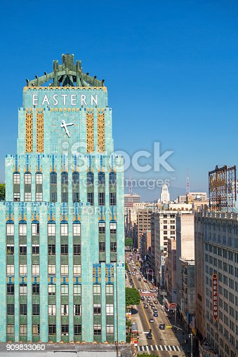 The art deco style Eastern Columbia Building and Broadway street in downtown Los Angeles California USA on a sunny day.