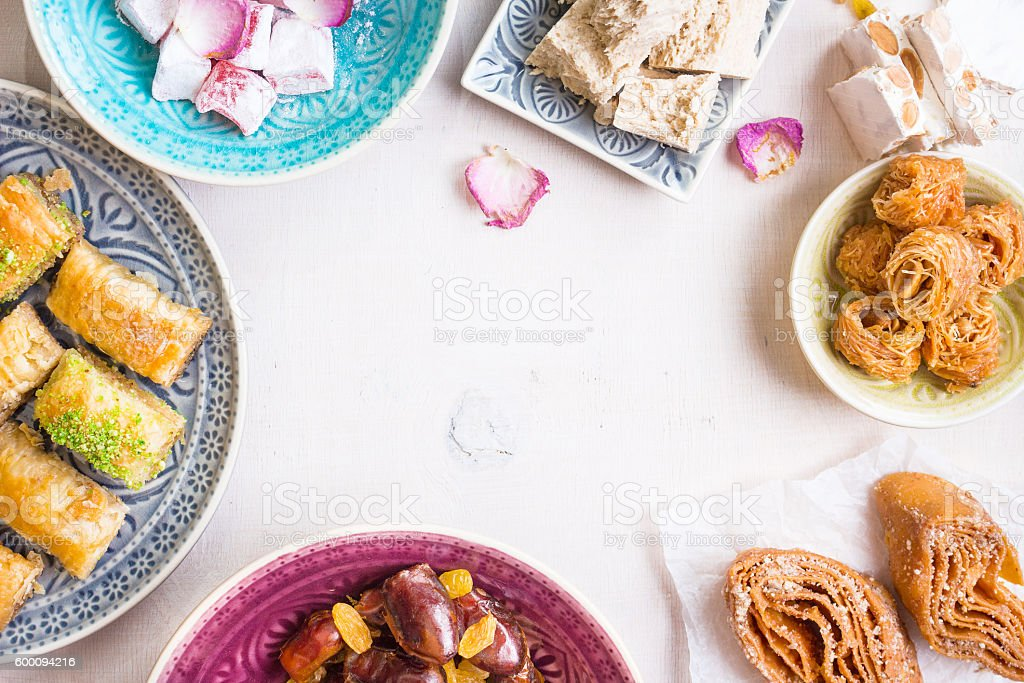 Eastern desserts background stock photo