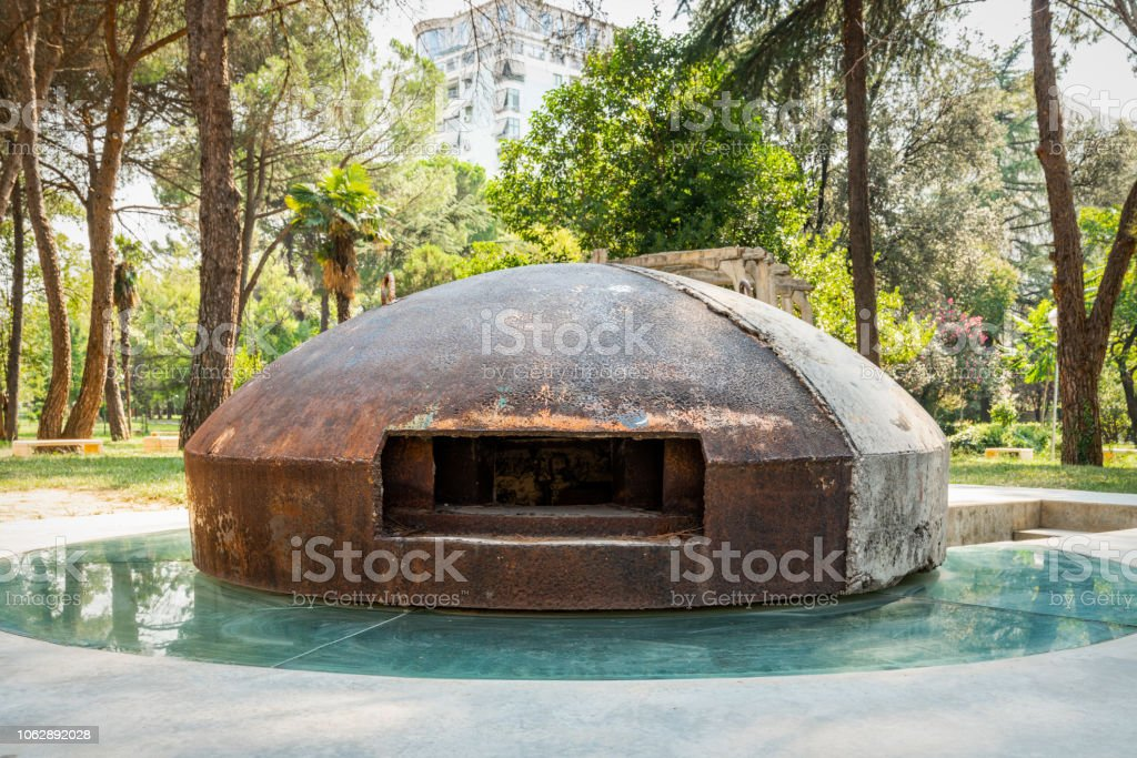 Eastern Europe city concrete bunker in a memorial park in Tirana Albania. stock photo