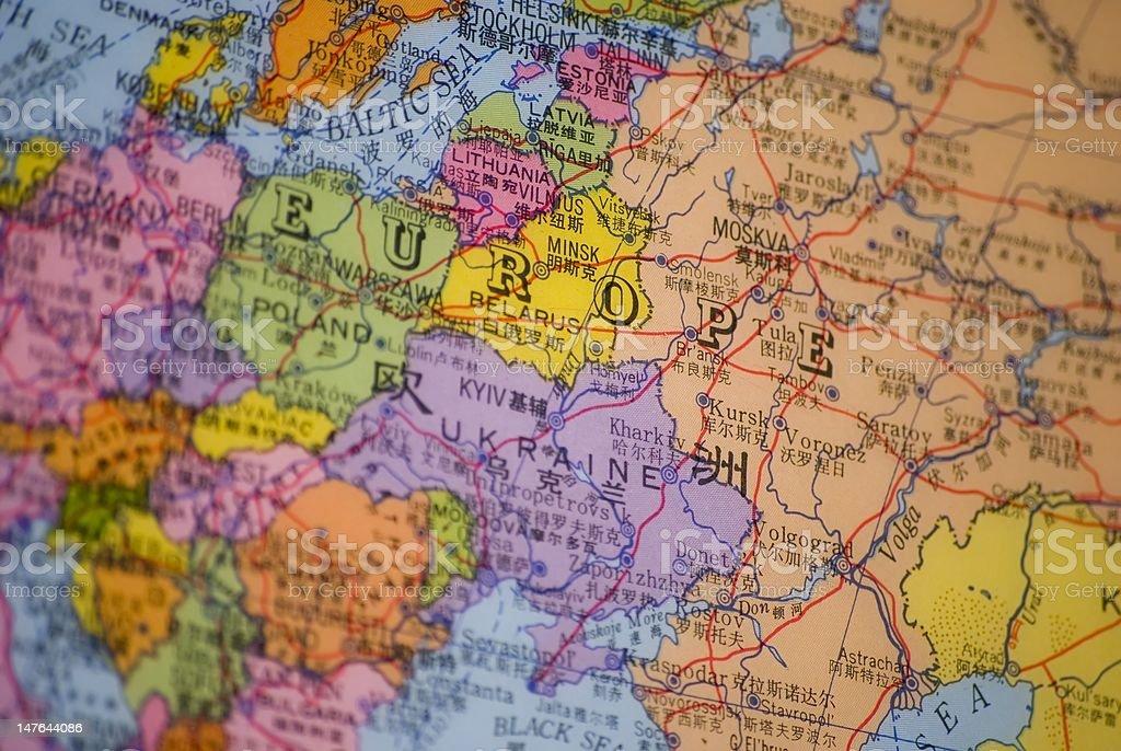 Eastern Europe map detail stock photo