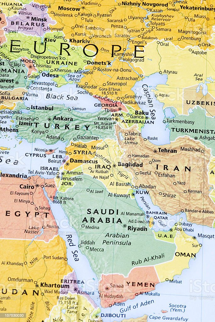 Eastern Europe Middle East And Persian Gulf Region Map Stock Photo - Map of egypt and middle east