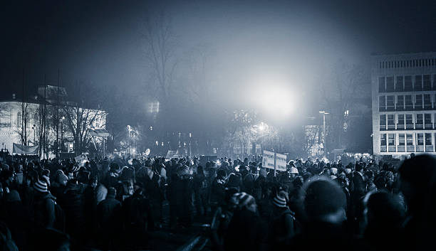 Eastern European anti government demonstrations stock photo