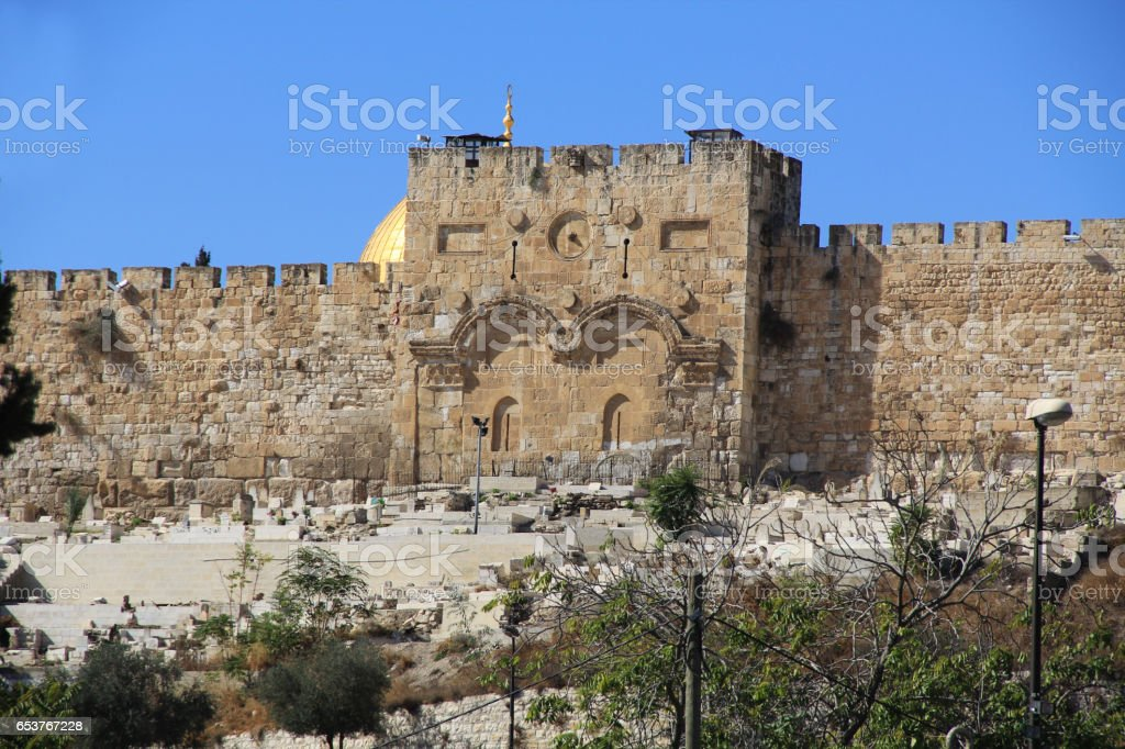 Eastern Gate and Cemetery in Israel stock photo