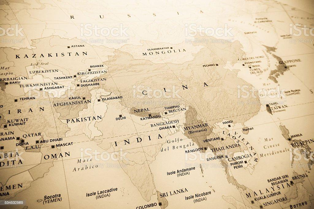 Eastern Globe map stock photo