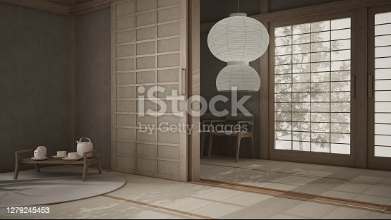 Eastern interior design, open space, bright empty room with futon, tatami, wooden roof, rice paper door, traditional tearoom, carpet, tray with tea set, chairs and classic pendant lamp