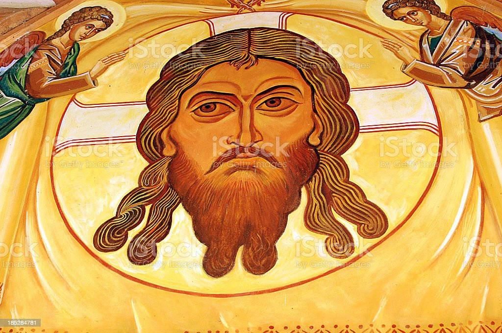 Eastern Orthodox Face of Jesus Christ Mural in Church stock photo