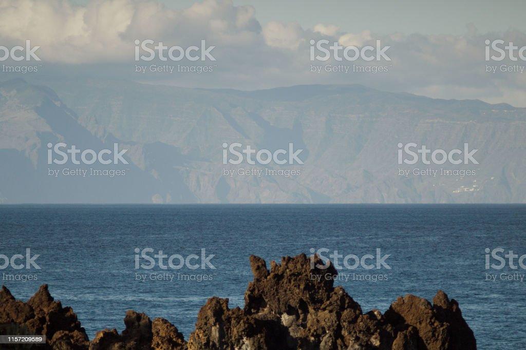 Eastern part of La Gomera Island seen from Tenerife. Long lens shot....