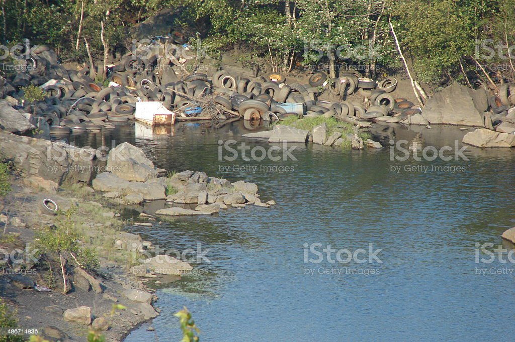 Eastern Pennsylvania Abandoned coal mine with garbage stock photo