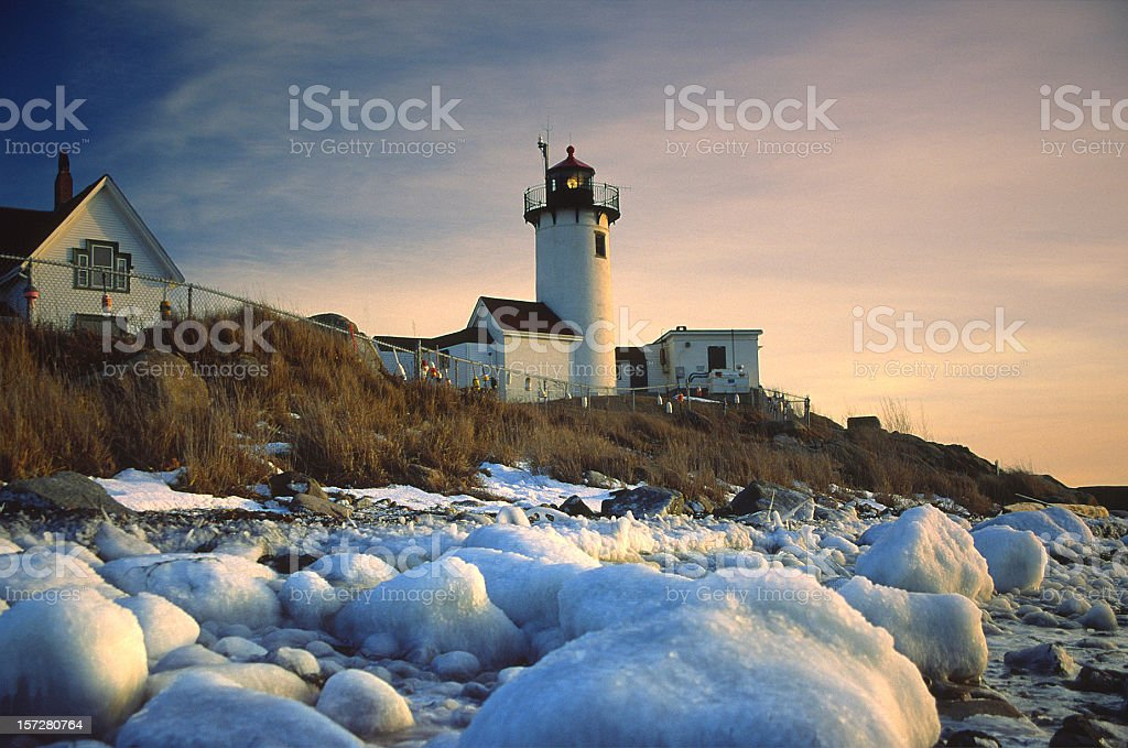 Eastern Point Lighthouse in Gloucster stock photo