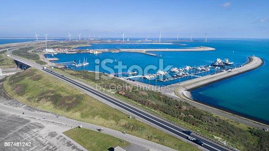 Eastern Scheldt barrier area - aerial view