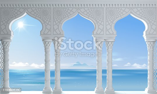 3d illustration. White Oriental arcade sea palace in the Arab style.
