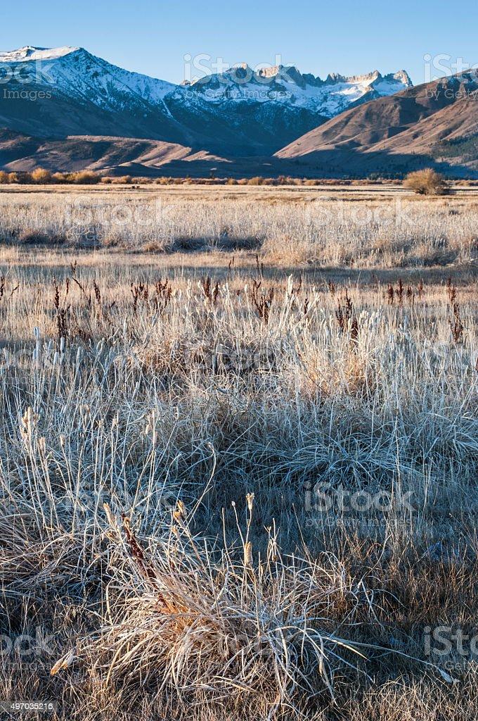 Eastern Sierra Nevada at Sunrise stock photo