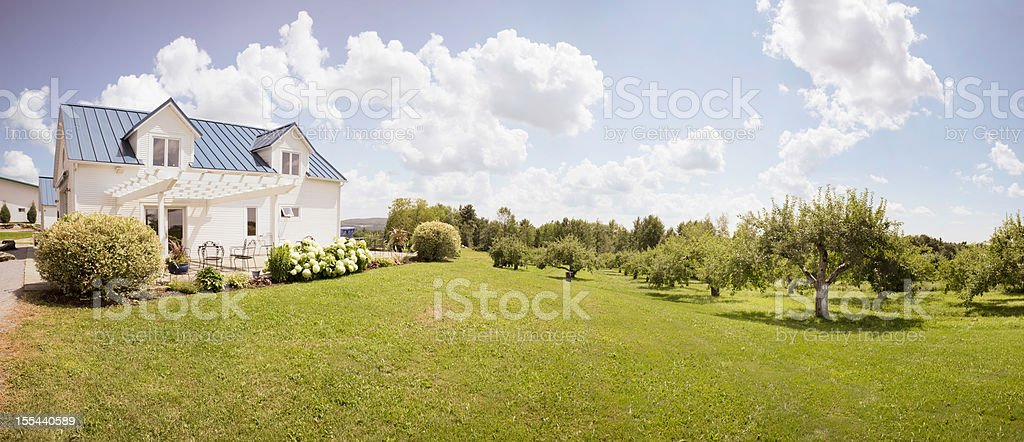 Eastern Townships Orchard with small house stock photo