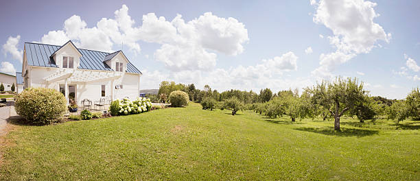 eastern townships orchard with small house - 田園風光 個照片及圖片檔