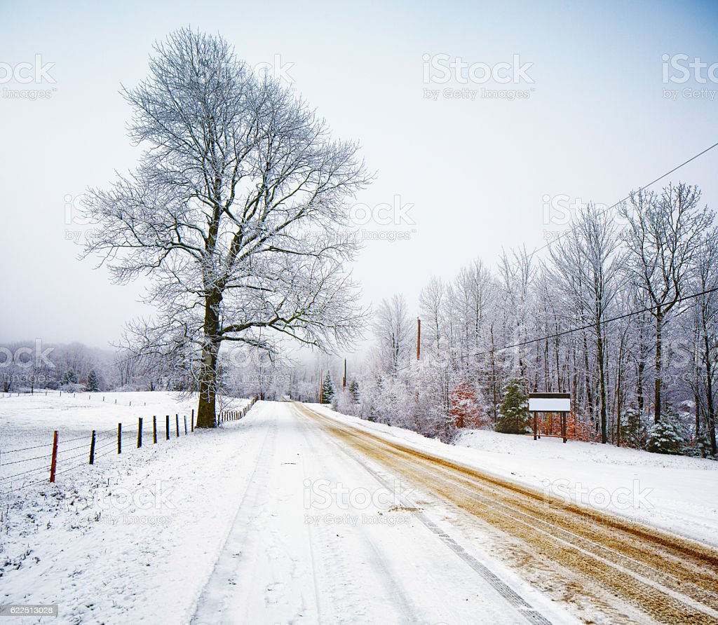 Eastern townships Quebec dirt road in Winter stock photo