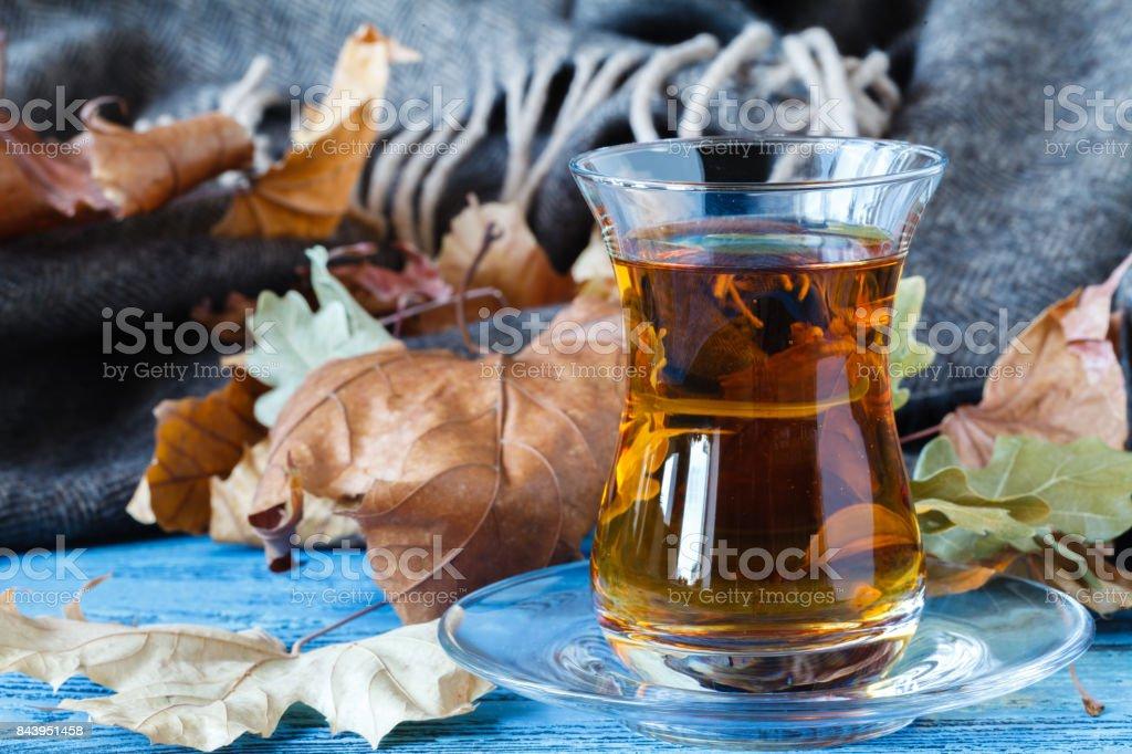 Eastern Turkish delight nuts tea on the table stock photo
