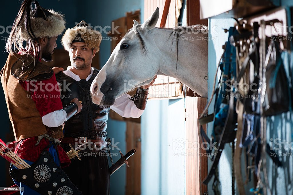 Eastern Warrior and Horse stock photo