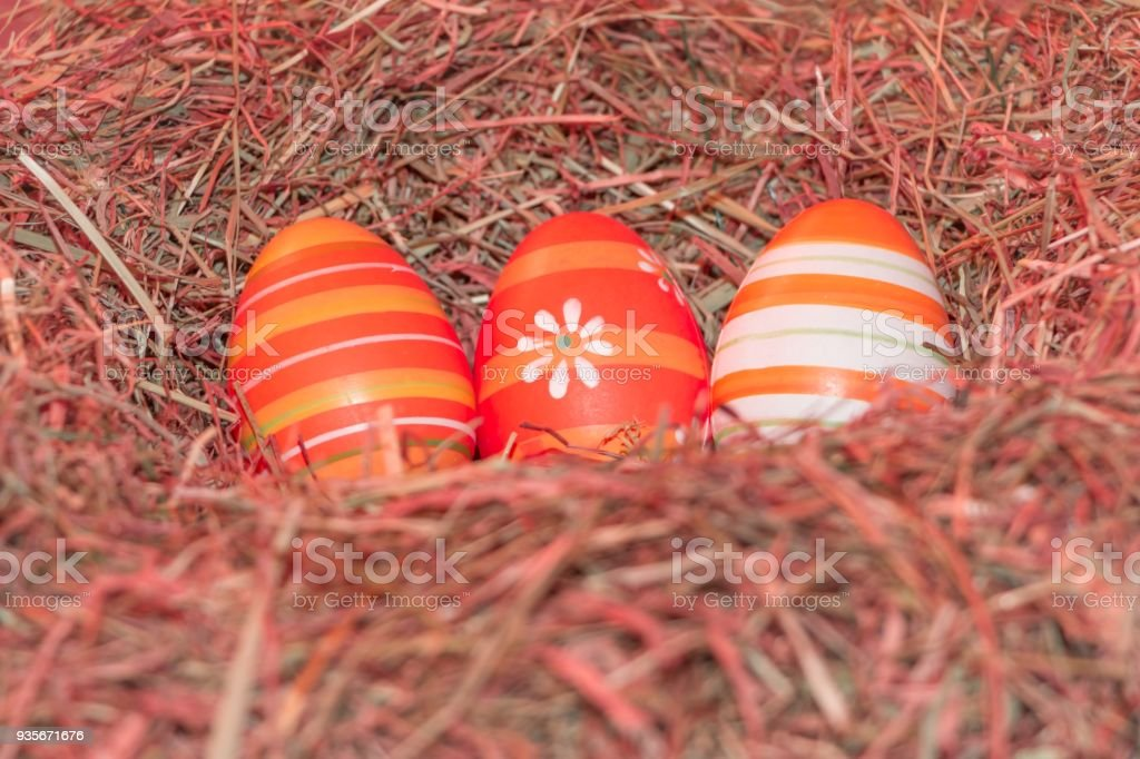 Easternest basket tradition red hidden easter eggs to search stock photo