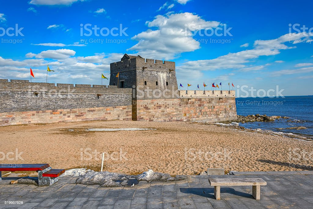 Easternmost end of the Great Wall in Laolongtou, near Shanhaigua stock photo