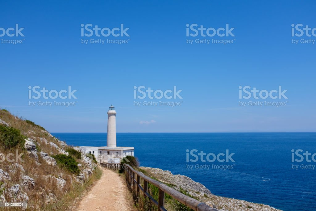 Easternmost Italian lighthouse in a summer day near Otranto royalty-free stock photo
