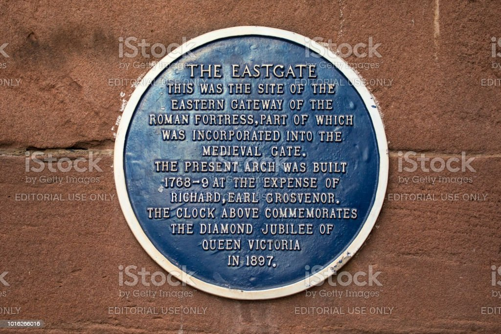 Eastgate Plaque in Chester, UK stock photo