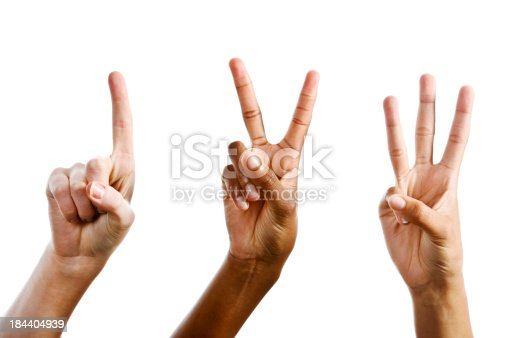 istock Easy as 1,2,3! Hands counting against white 184404939