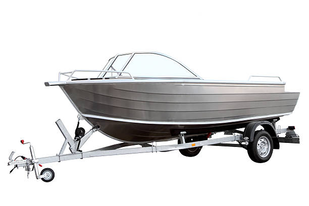 Easy boat loaded on the trailer stock photo