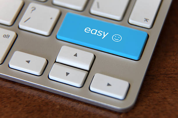 Easy button emoji computer keyboard stock photo