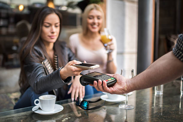 Easy contactless payment system bildbanksfoto