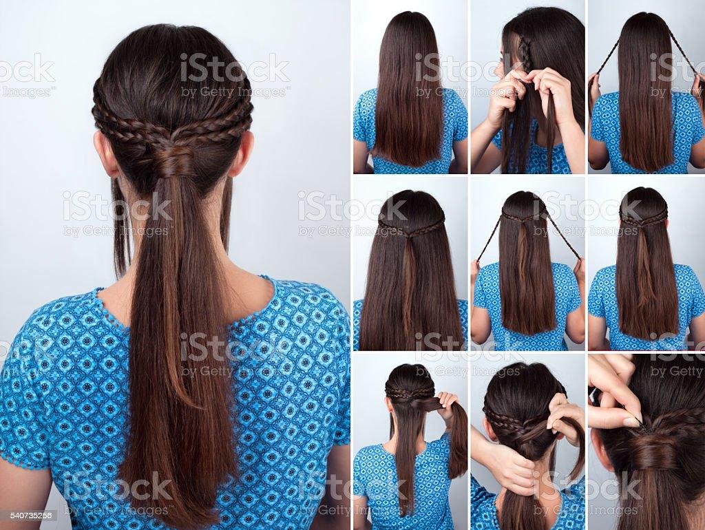 Einfache Frisur Pony Schwanz Mit Plaits Haar Tutorial Stockfoto ...